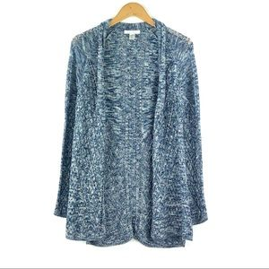 RALSEY | Blue Marled Open Front Knit Cardigan